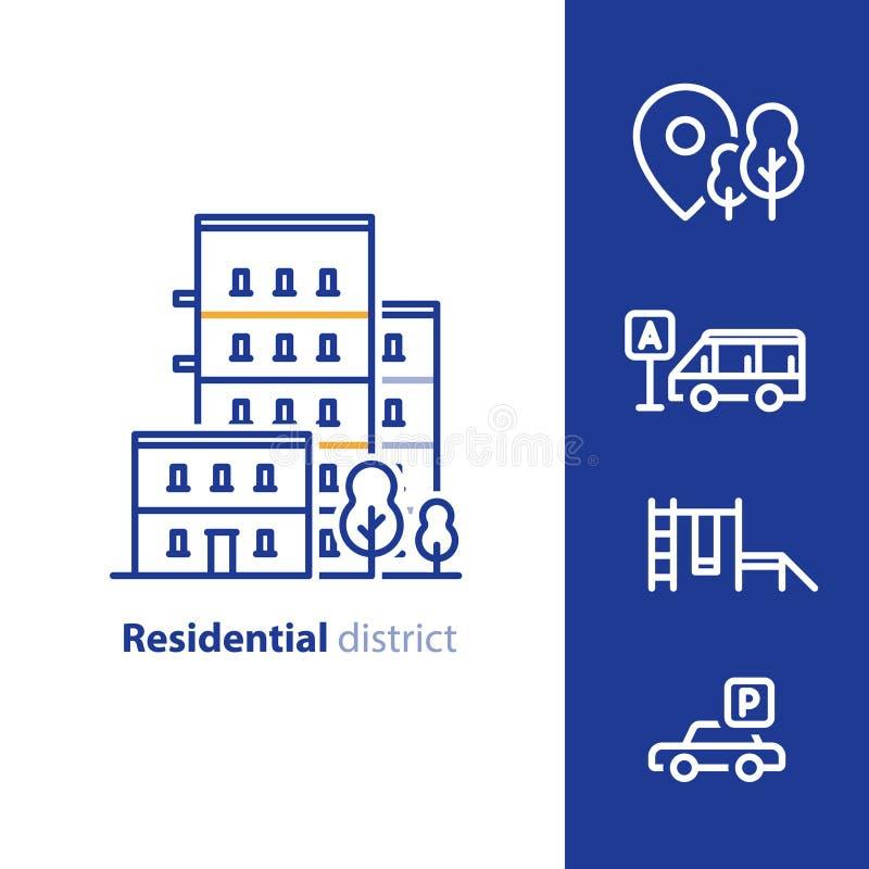Concepto del distrito residencial, desarrollo inmobiliario, construcción de viviendas con las amenidades próximas ilustración del vector
