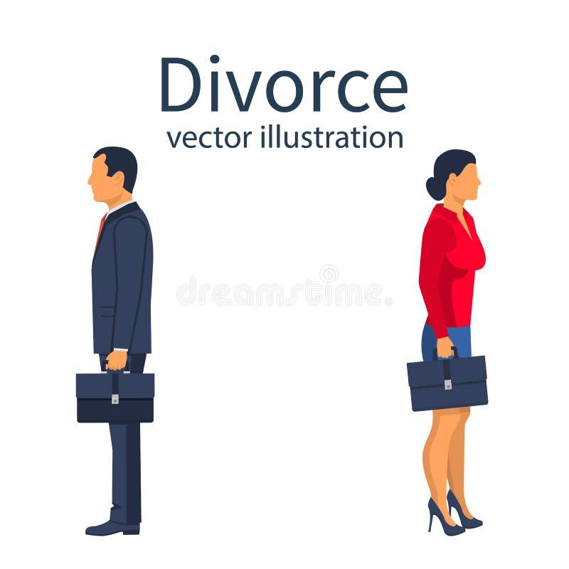 Concepto del divorcio Concepto de la desintegración stock de ilustración