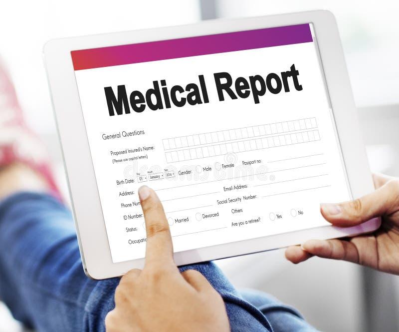 Concepto del documento de la atención sanitaria del informe del informe médico imagenes de archivo