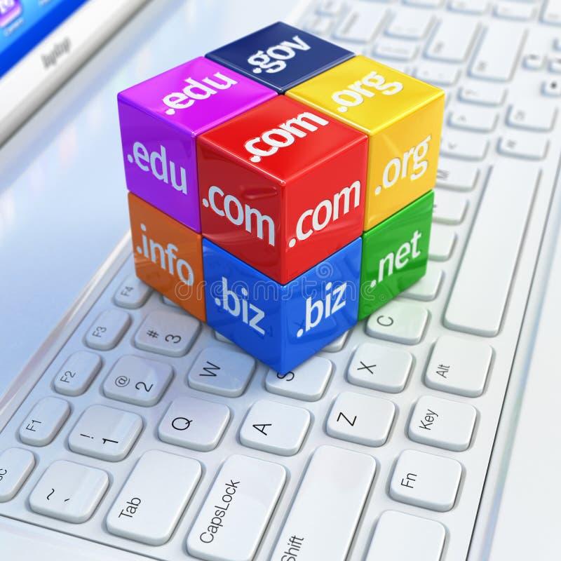Concepto del dominio Cubos en el teclado blanco del ordenador portátil stock de ilustración
