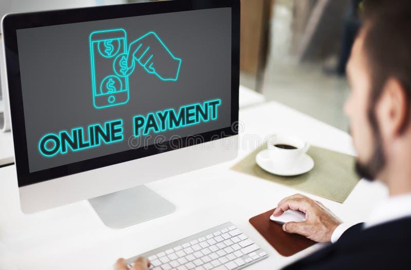 Concepto del E-pago de la contabilidad de la transacción de actividades bancarias del pago fotos de archivo