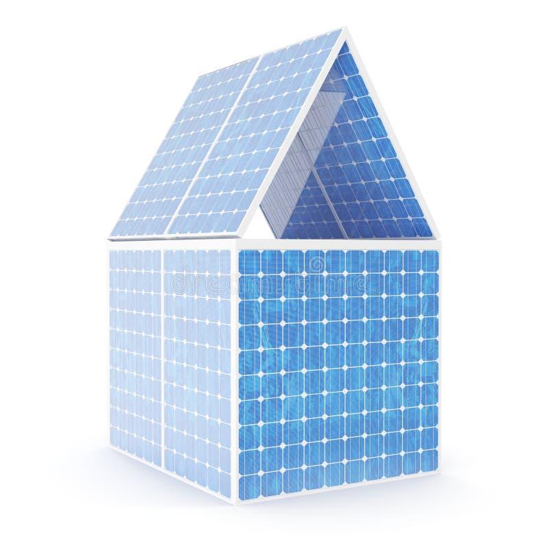 concepto del ejemplo 3D de una casa hecha de los paneles solares Fuente alternativa de la electricidad del concepto Energía de Ec stock de ilustración