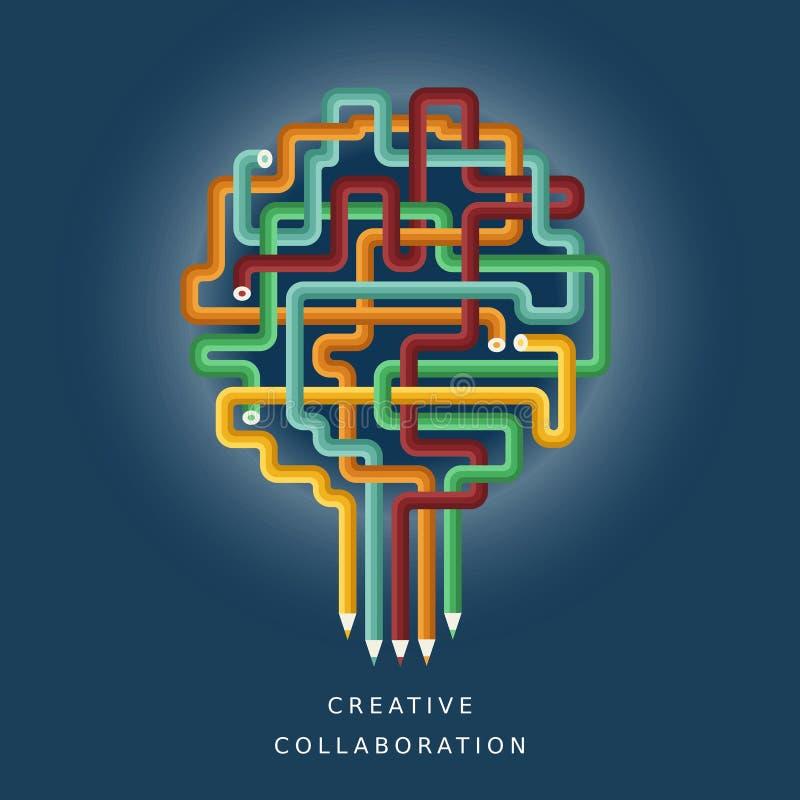 Concepto del ejemplo de colaboración creativa ilustración del vector