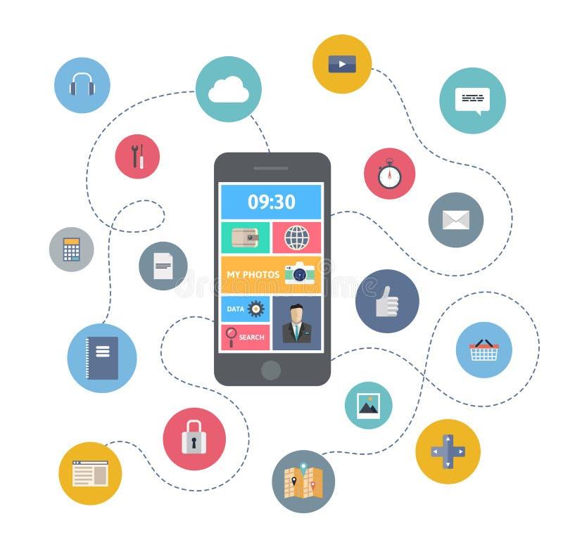 Concepto del ejemplo de la comunicación móvil libre illustration