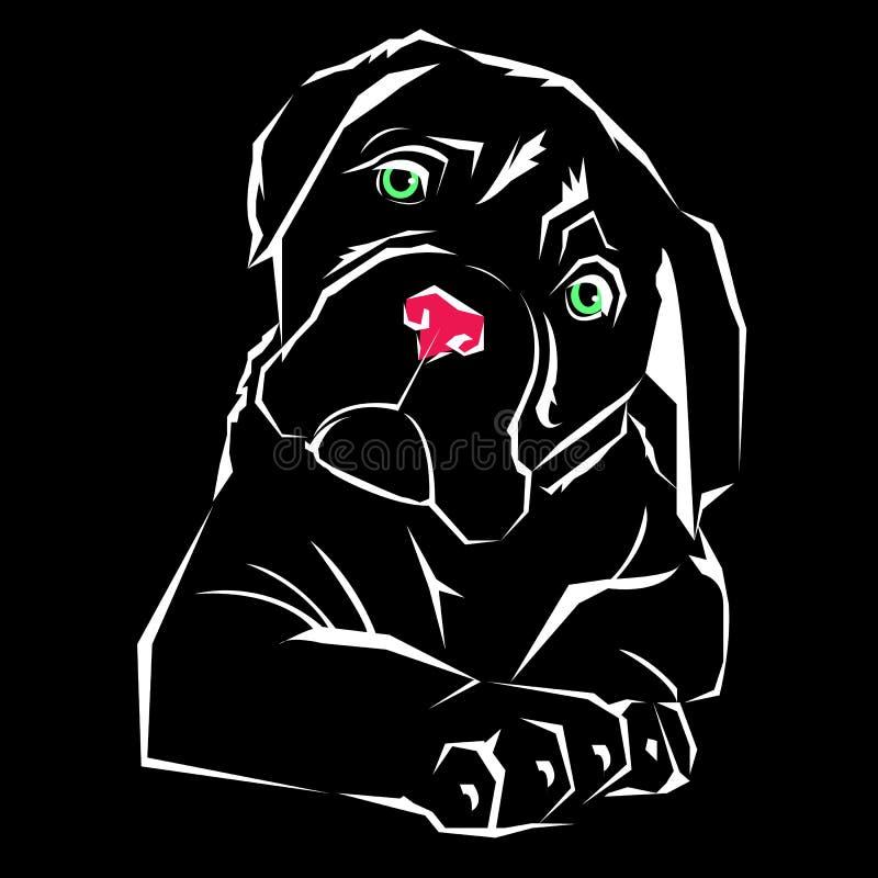Concepto del ejemplo del emblema del vector del perro del diseño del icono stock de ilustración