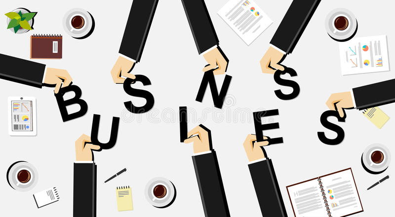 Concepto del ejemplo del negocio Los hombres de negocios traen letras ilustración del vector