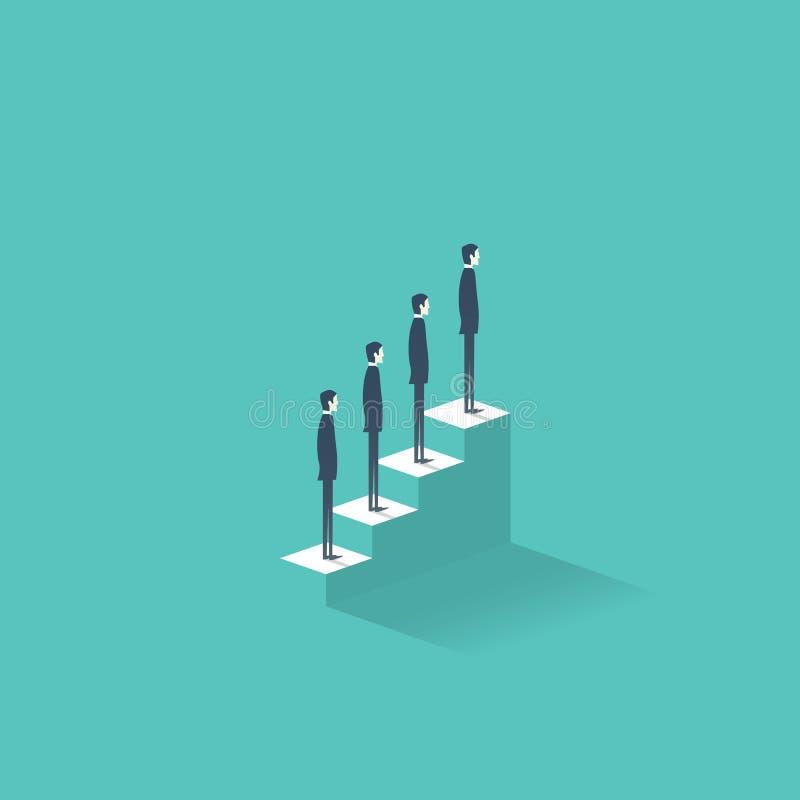Concepto del ejemplo del vector del crecimiento de la carrera con los hombres de negocios que se colocan en las escaleras al top  stock de ilustración