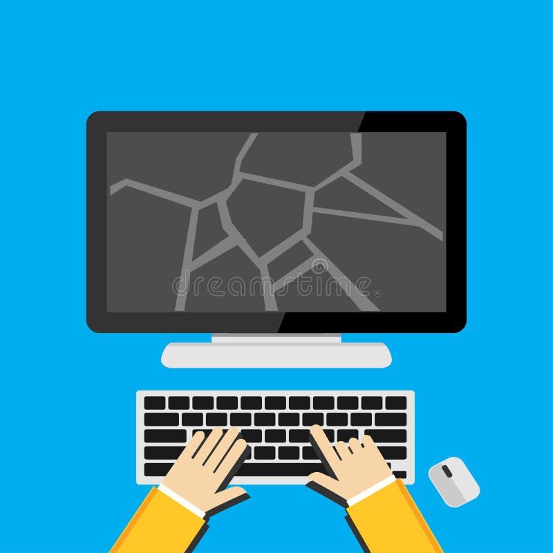 Concepto del ejemplo para la pantalla quebrada o la pantalla de escritorio agrietada stock de ilustración