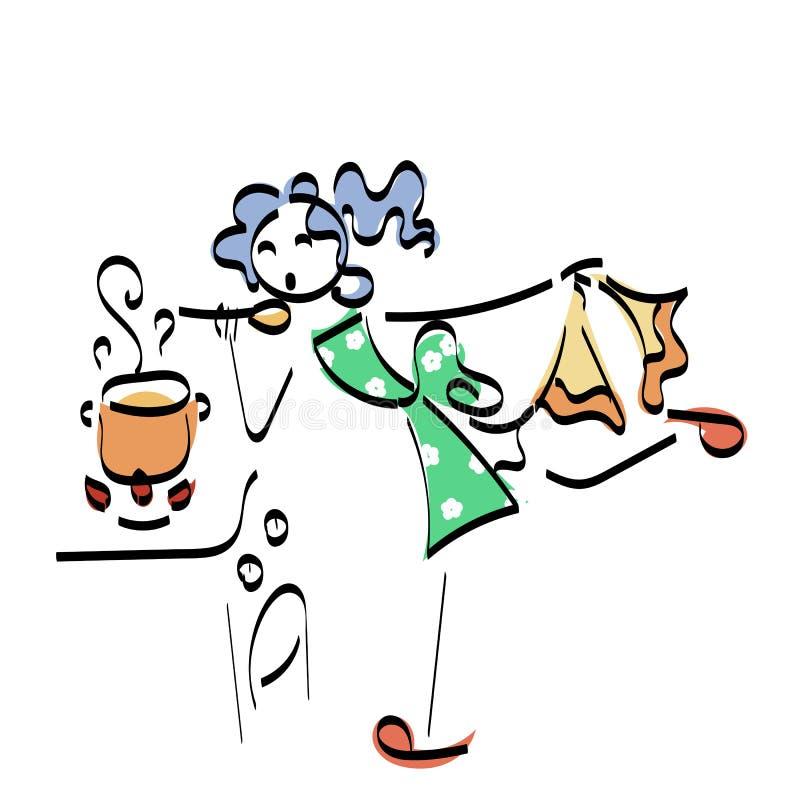 Concepto del ejemplo del stickman del garabato Cocinar a la mujer con la comida sabrosa stock de ilustración