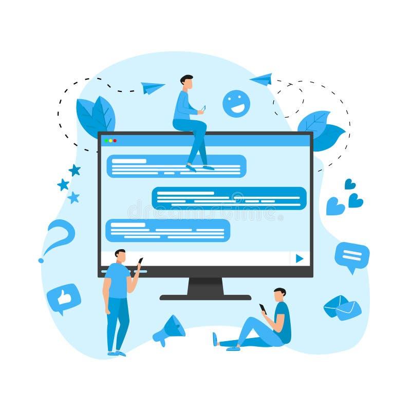 Concepto del ejemplo del vector de comunicación en charla en línea libre illustration