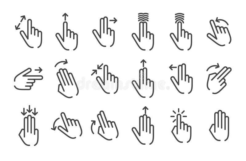 Concepto del ejemplo del vector de gesto de manos Icono en el fondo blanco stock de ilustración