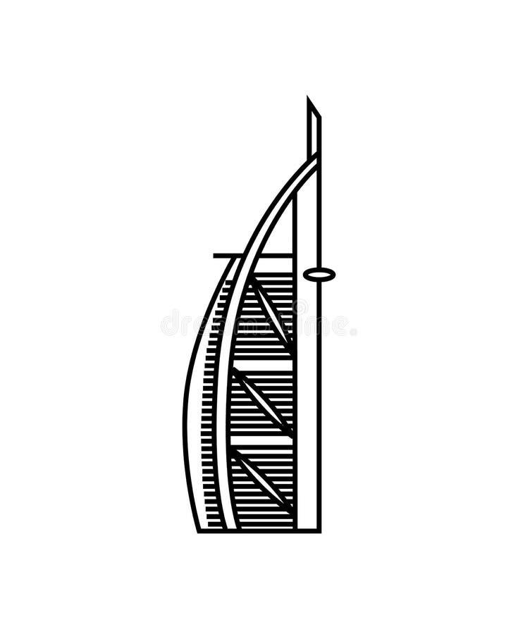 Concepto del ejemplo del vector de icono de la torre de Dubai Negro en el fondo blanco ilustración del vector