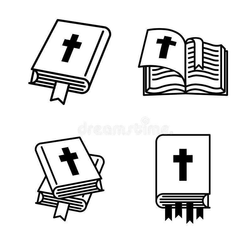 Concepto del ejemplo del vector de libro de la Sagrada Biblia Icono en el fondo blanco ilustración del vector