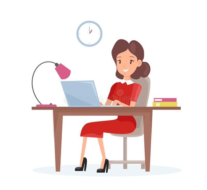 Concepto del ejemplo del vector de mujer de negocios La mujer feliz está trabajando en el ordenador portátil en el escritorio en  libre illustration