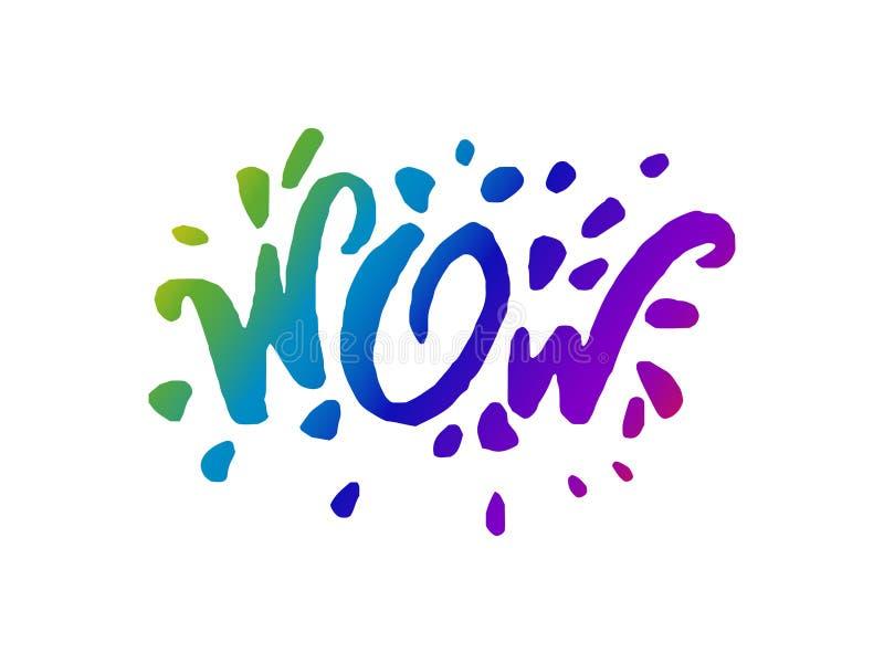 Concepto del ejemplo del vector de palabra de la frase del wow que pone letras al icono de la frase ilustración del vector