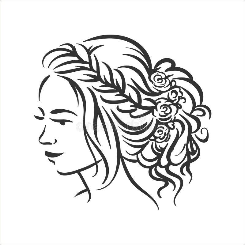 Concepto del ejemplo del vector de ejemplo del peinado de la mujer en el fondo blanco libre illustration