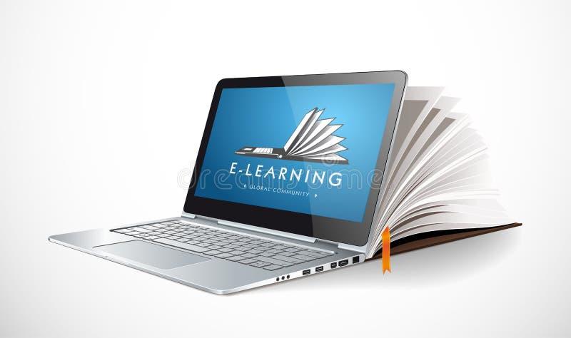 Concepto del Elearning - sistema de aprendizaje en línea - crecimiento del conocimiento libre illustration