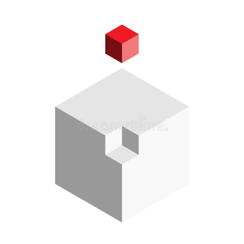 Concepto del elemento del diseño de la solución Bloque de los cubos 3D con el pedazo rojo pasado afuera Ilustración del vector libre illustration