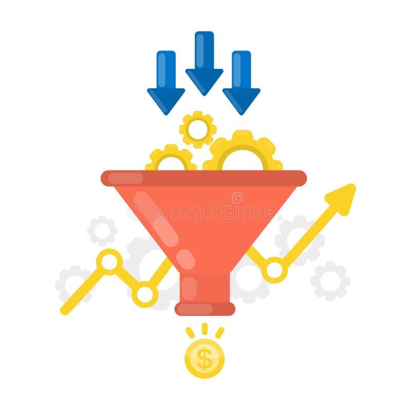 Concepto del embudo de las ventas ilustración del vector