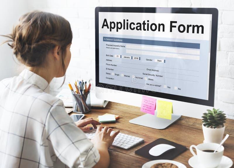 Concepto del empleo de la información del formulario de inscripción imagen de archivo libre de regalías