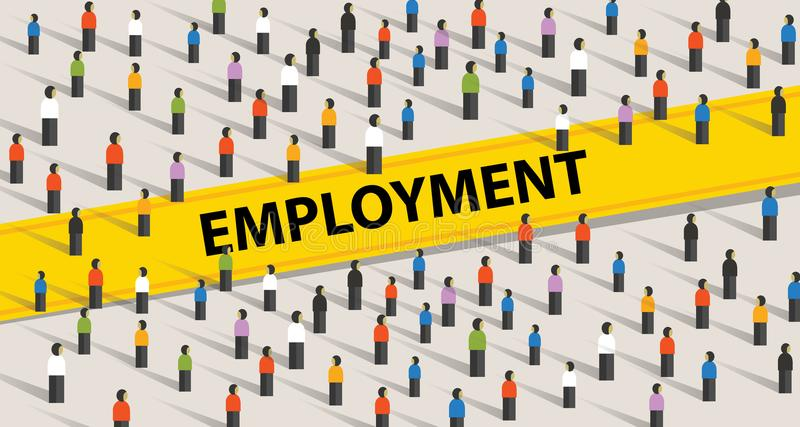 Concepto del empleo Muchedumbre de gente, de individualidad y de concepto de la diversidad ilustración del vector