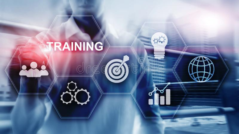 Concepto del entrenamiento del asunto Aprendizaje electrónico de entrenamiento de Webinar Concepto financiero de la tecnología y  stock de ilustración