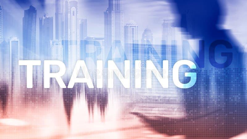 Concepto del entrenamiento del asunto Aprendizaje electr?nico de entrenamiento de Webinar Concepto financiero de la tecnolog?a y  stock de ilustración