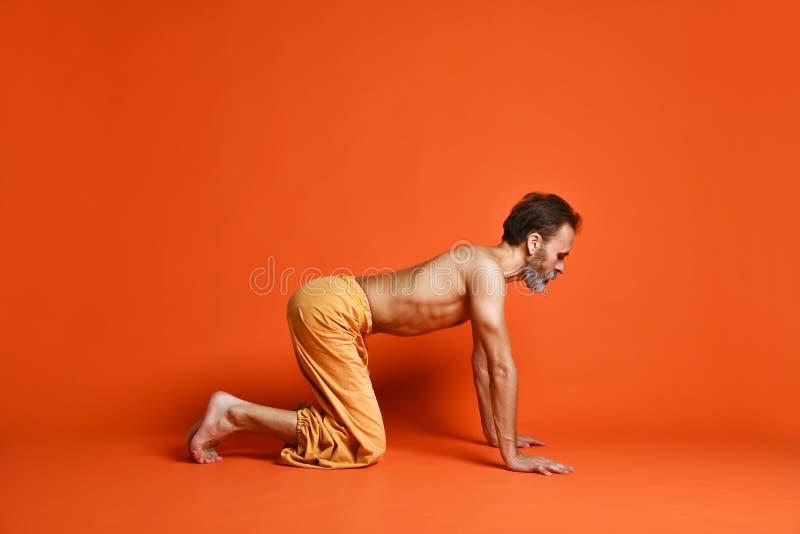 Concepto del entrenamiento de la actitud de la práctica de la yoga del hombre mayor fotografía de archivo libre de regalías