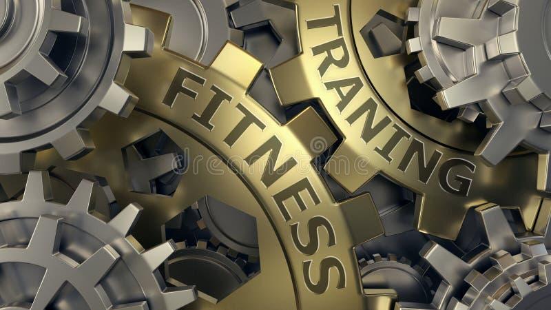 Concepto del entrenamiento de la aptitud Oro y ejemplo de plata del fondo de la rueda de engranaje 3d rinden libre illustration