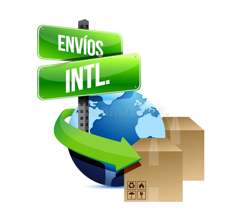 Concepto del envío internacional en español libre illustration