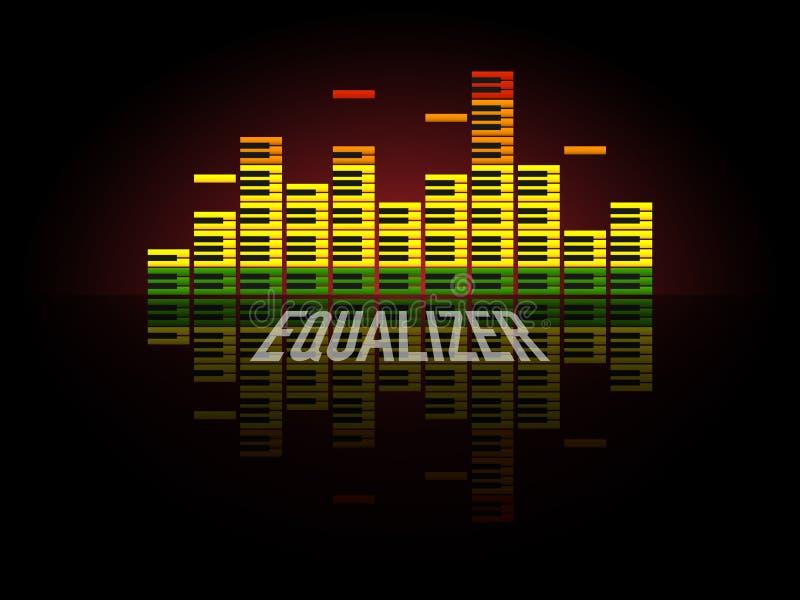 Concepto del equalizador del piano Diseño de las ondas acústicas del color Escala audio retra en fondo negro Ilustración del vect ilustración del vector