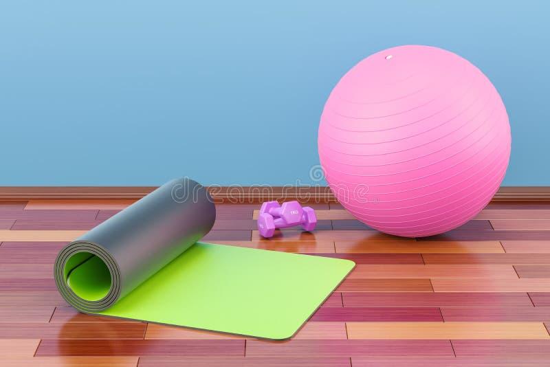 Concepto del equipo de la aptitud y de deportes Estera, pesas de gimnasia y fi de la yoga stock de ilustración