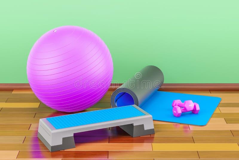 Concepto del equipo de la aptitud y de deportes Tablero aerobio del paso, yoga m stock de ilustración