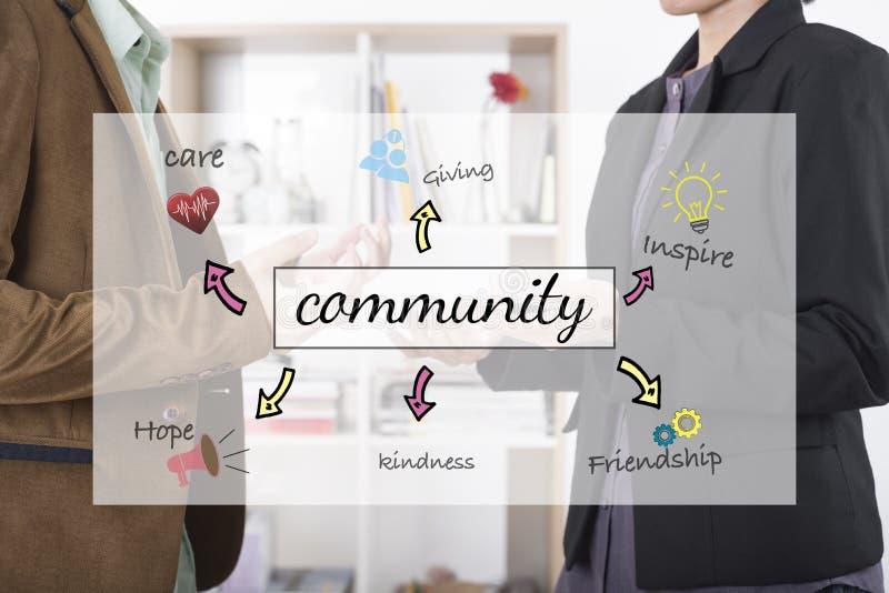 Concepto del equipo de la comunidad empresarial para la ayuda de las donaciones de la caridad foto de archivo