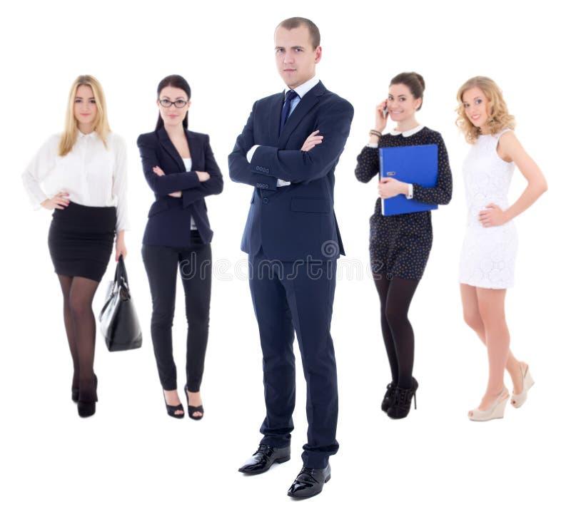 Concepto del equipo - hombre de negocios acertado y sus trabajadores aislados foto de archivo