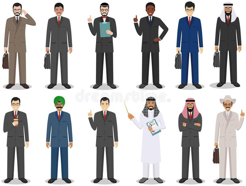 Concepto del equipo y del trabajo en equipo del negocio Sistema del ejemplo detallado de los hombres de negocios que se colocan e ilustración del vector