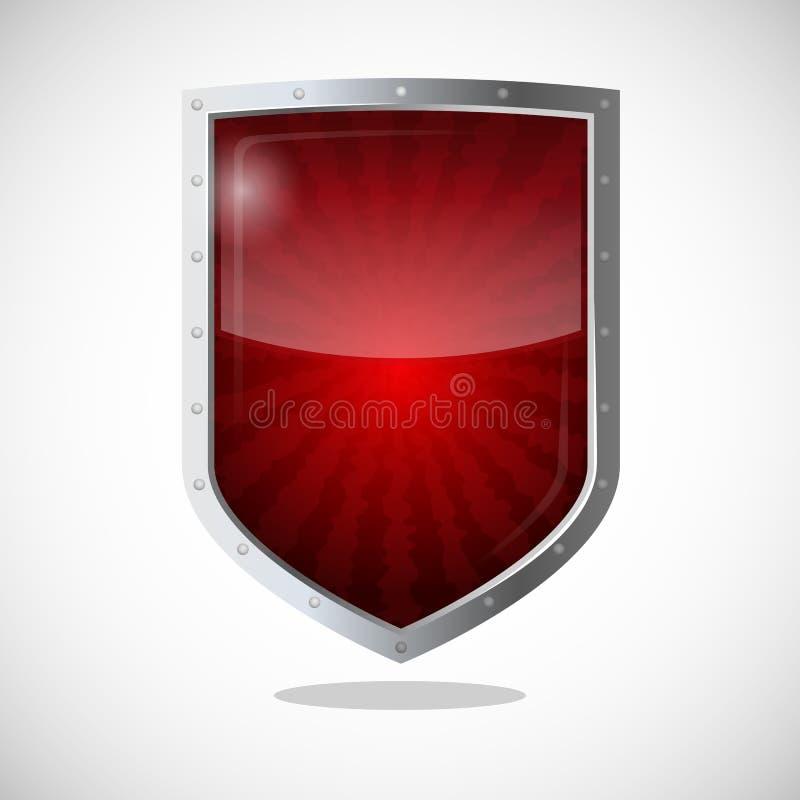 Concepto del escudo de la armadura de la protección Logotipo de la tutela de la seguridad stock de ilustración