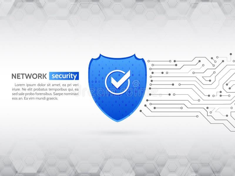 Concepto del escudo de la seguridad Seguridad de Internet Placa de circuito de alta tecnología abstracta stock de ilustración