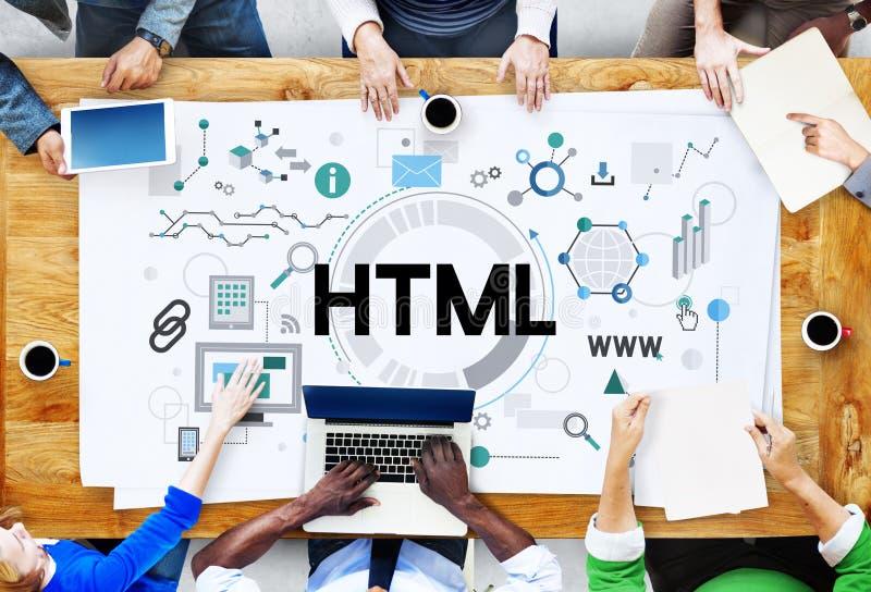 Concepto del establecimiento de una red de Internet de la interconexión de la comunicación del HTML foto de archivo libre de regalías