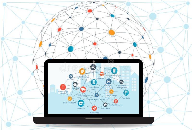 Concepto del establecimiento de una red de Internet y tecnología de ordenadores de la nube ilustración del vector