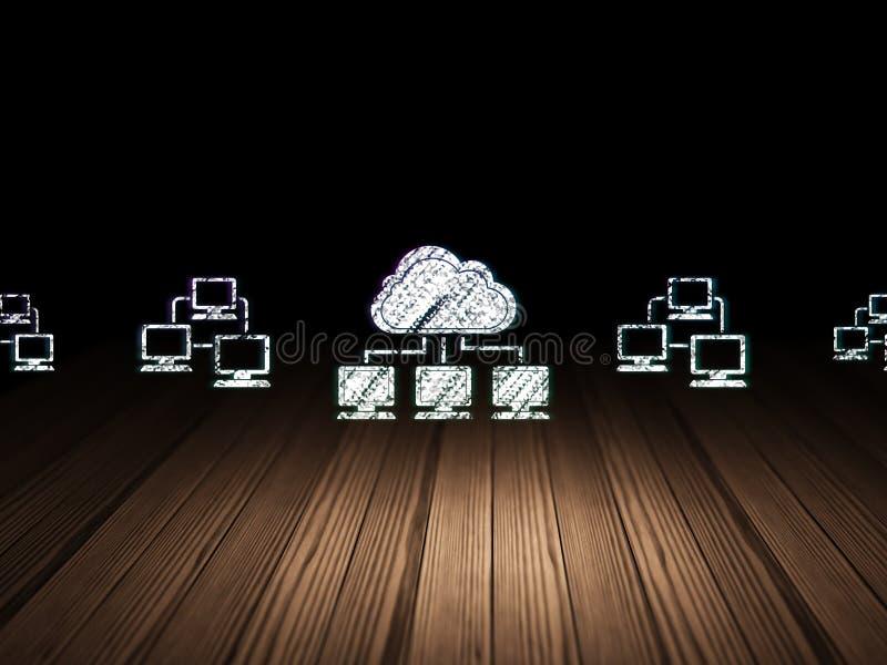 Concepto del establecimiento de una red de la nube: icono de la red de la nube adentro libre illustration