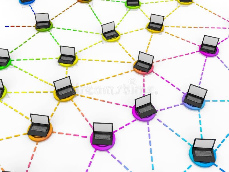 Concepto del establecimiento de una red de la oficina stock de ilustración