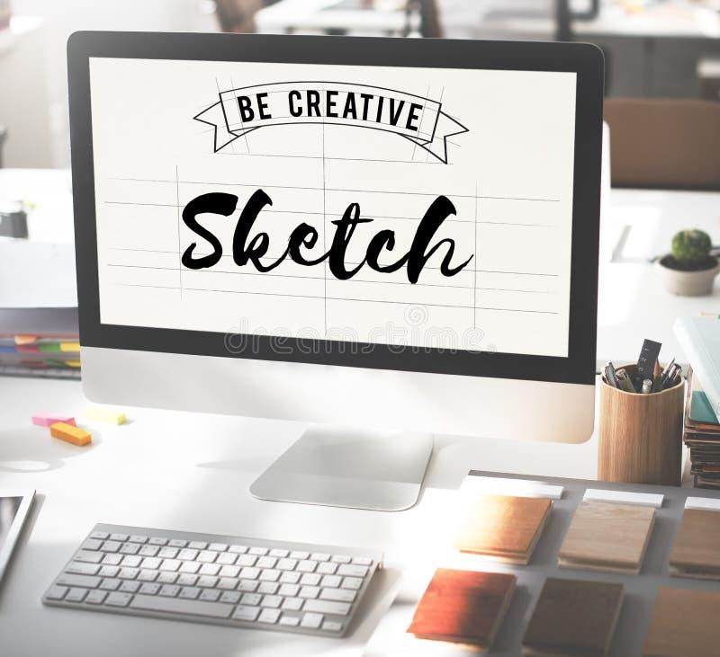 Concepto del estilo del producto de Art Design Drawing Idea Plan del bosquejo imágenes de archivo libres de regalías