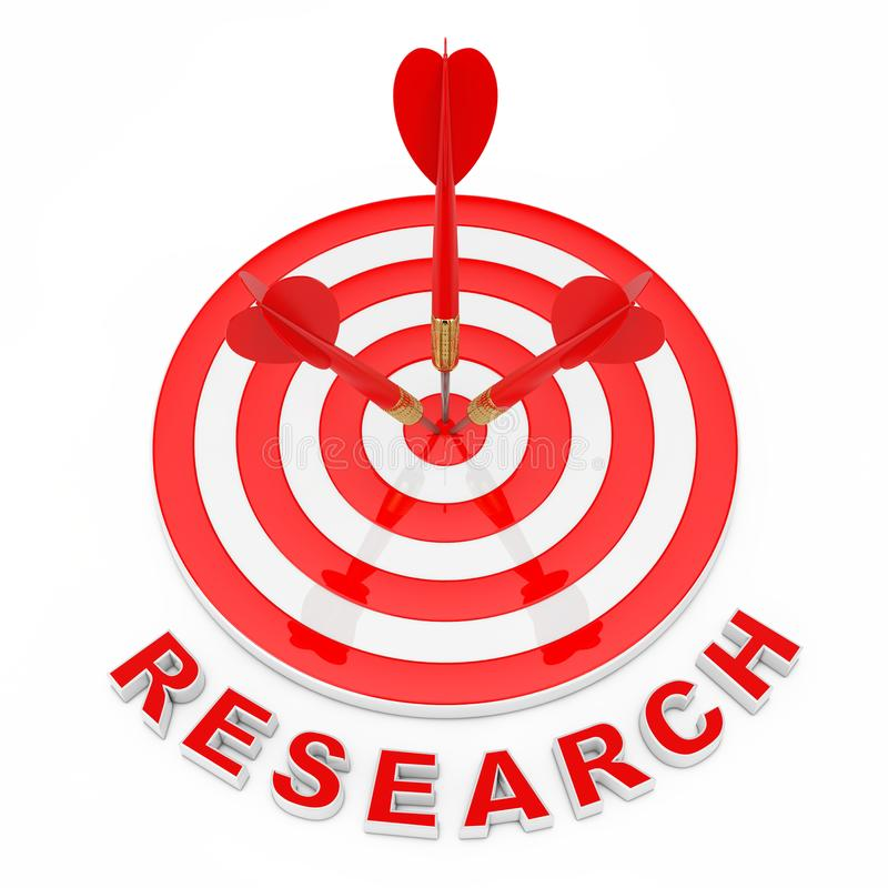 Concepto del estudio de mercados Muestra de la investigación cerca del golpe de los dardos ilustración del vector