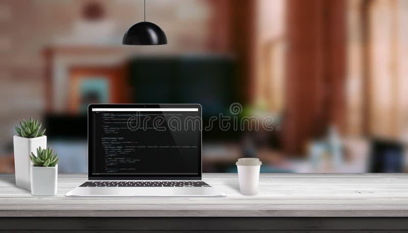 Concepto del estudio del desarrollo web Editor de código de la escritura del ordenador portátil vith fotografía de archivo