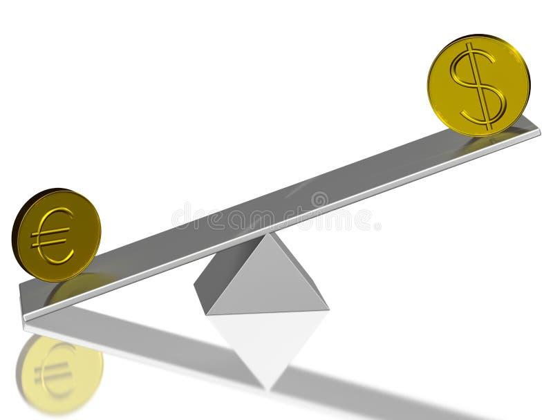 Concepto del euro y del dólar stock de ilustración