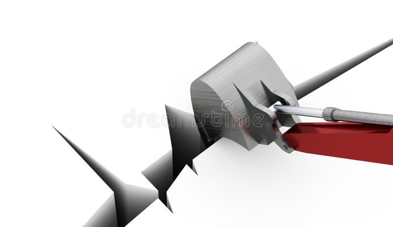 Concepto del excavador rendido ilustración del vector