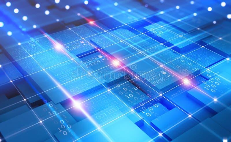 Concepto del extracto del ciberespacio Red de Blockchain Tecnología de Fintech ilustración del vector