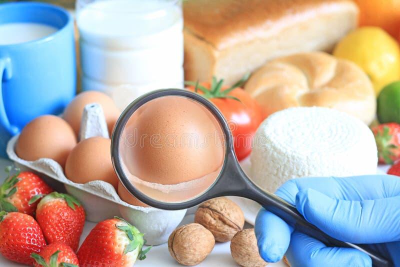 Concepto del extracto de la comida de la alergia con el doctor y la lupa de examen foto de archivo libre de regalías