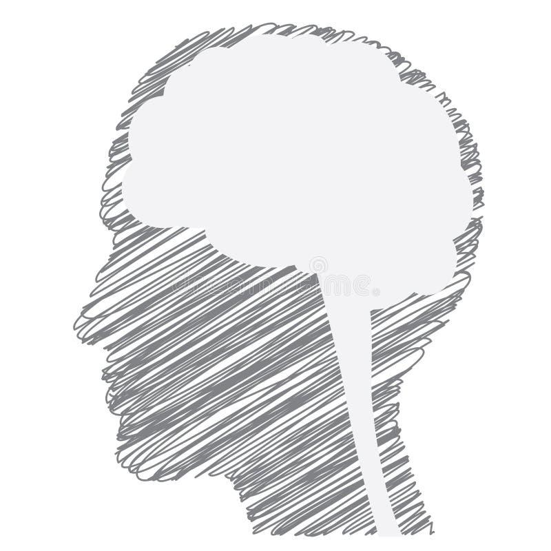 Concepto del extracto de la persona creativa con la silueta y el cerebro garabateados de la cara Ilustración del vector stock de ilustración